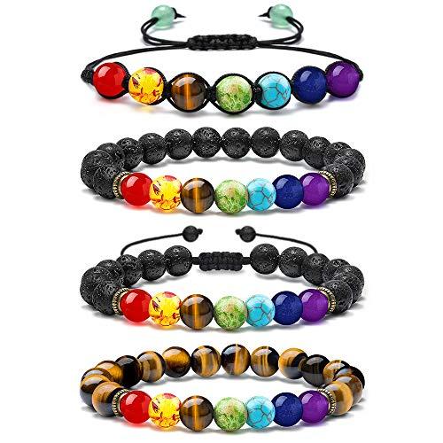 M MOOHAM Mens Bracelet Chakra Lava Rock - 7 Chakras Bracelet for Women Healing Chakra Bead Bracelet for Women, Stress Relief Yoga Beads Aromatherapy Essential Oil Diffuser Bracelets