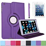 HDE iPad Mini Tablet Case Rotating Flip Stand Folding Smart Cover Leather + Screen Protector + Stylus for Apple Mini 2/3 Retina (Purple)