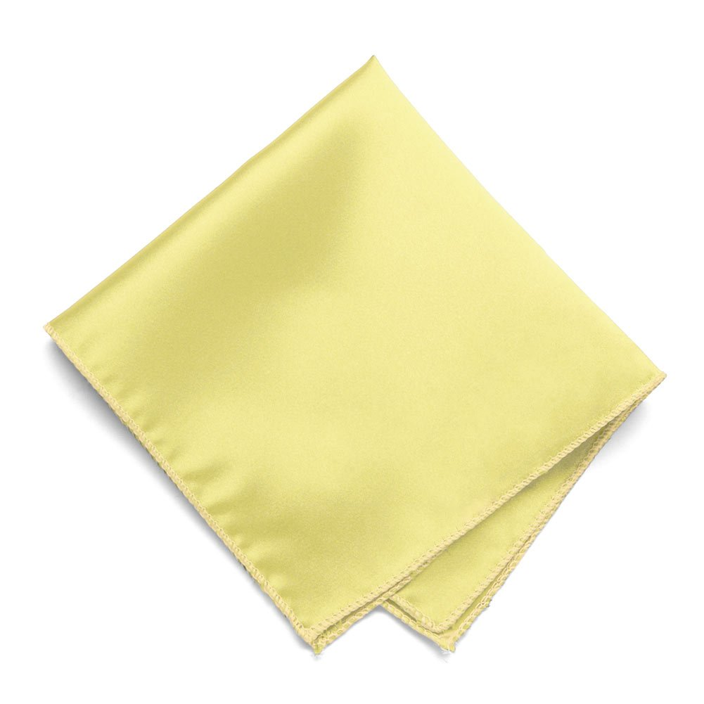 TieMart Butter Yellow Solid Color Pocket Square