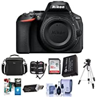Nikon D5600 Digital SLR Camera Body, Black - Bundle With 32GB SDHC Card, Camera Case, Spare Battery, Tripod, Memory Wallet, Cleaning Kit, Card Reader, Software Package