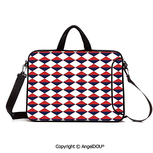 (AngelDOU Neoprene Printed Fashion Laptop Bag Half Triangles Diamond Shapes Retro Navy Inspired Art Print Decorative Notebook Tablet Sleeve Cases Compatible with Lenovo Asus Acer HP Red Dark Blue an)