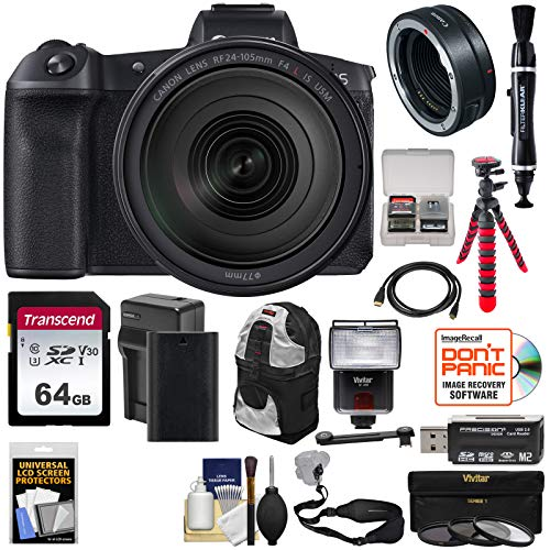 Canon EOS R Full Frame Mirrorless Digital Camera & 24-105mm f/4 L is Lens + Mount Adapter + 64GB Card + Battery + Filters + Backpack + Strap + Tripod + Flash Kit (Canon 28 105mm F 3-5 4-5 Ii Usm)