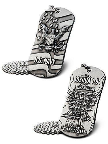 Shields of Strength US Navy Antique Finish Dog Tag Necklace-Joshua 1:9
