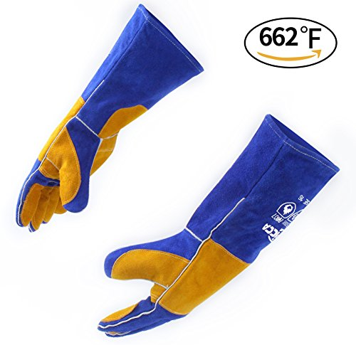 RAPICCA Leather Welding Gloves 662F(350) Heat/Fire Resistant, Mitts for Oven/Grill/Fireplace/Stove/Pot Holder/Tig Welder/Mig/BBQ - Soft Cotton Lining with 16 inches Extra Long Sleeve  Blue