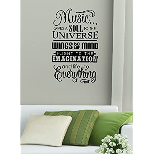 Attractive Wall Decor Plus More WDPM3361 Music Gives Life To Everything Wall Decal  Sticker Quote Lettering Art, 23x14 Inch, Black