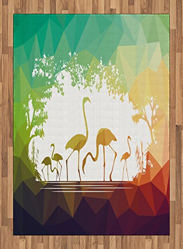 Africa Area Rug by Ambesonne, Modern Design Flamingo Figures in Digital Art with Polygonal Featured Shadow Effects, Flat Woven Accent Rug for Living Room Bedroom Dining Room, 5.2 x 7.5 FT, Multicolor by Ambesonne