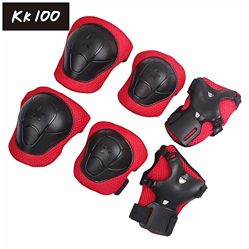 KK 100 Kid's Roller Blading Wrist Elbow Knee Pads Blades Guard 6 PCS Red & black Set