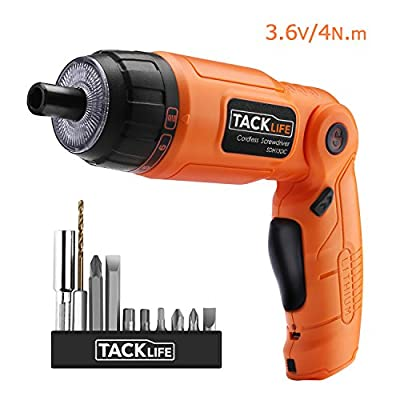 Tacklife SDH13DC Advanced Cordless Screwdriver 3.6-Volt MAX Torque 4N.m 3-Position Rechargeable with 10 Screwdriver Bits, USB Charger and 4 LED Light-Ideal Father's Day Gift