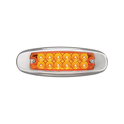Grand General 78565 Amber Rectangular Spyder 12-LED Marker and Clearance Sealed Light with Stainless Steel Rim: Automotive