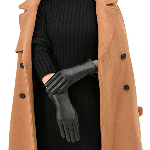 GSG Womens Classic Sheepskin Touch Screen Leather Gloves with Buttons M Black