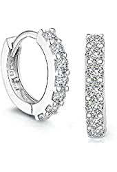 Sannysis 1Pair Beautiful Silvering Rhinestones Hoop Stud Earrings For Women