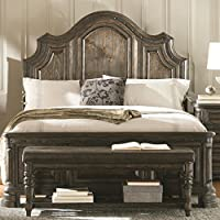 Coaster Carlsbad Collection 204041KE Eastern King Size Panel Bed with Distressed Detailing Solid Wood and Pine Wood Veneer in Vintage Espresso
