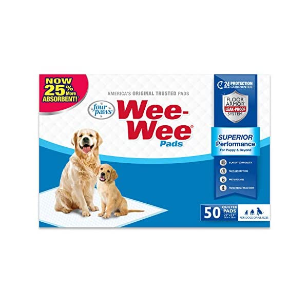 Wee Wee Puppy Pee Pads for Dogs | 50 Count | Puppy Training Pads for Dogs | Standard Size Pads(Title may vary)