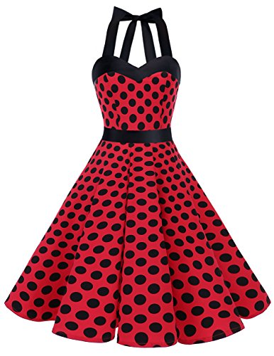 (DRESSTELLS 50s Retro Halter Rockabilly Polka Dots Audrey Dress Cocktail Dress Red Black Dot)
