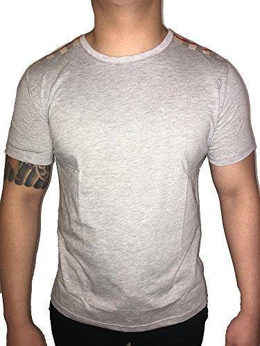 Burberry Patch Shoulder Plaid Nova Check Men T-Shirt (Gray, - Print Burberry Check