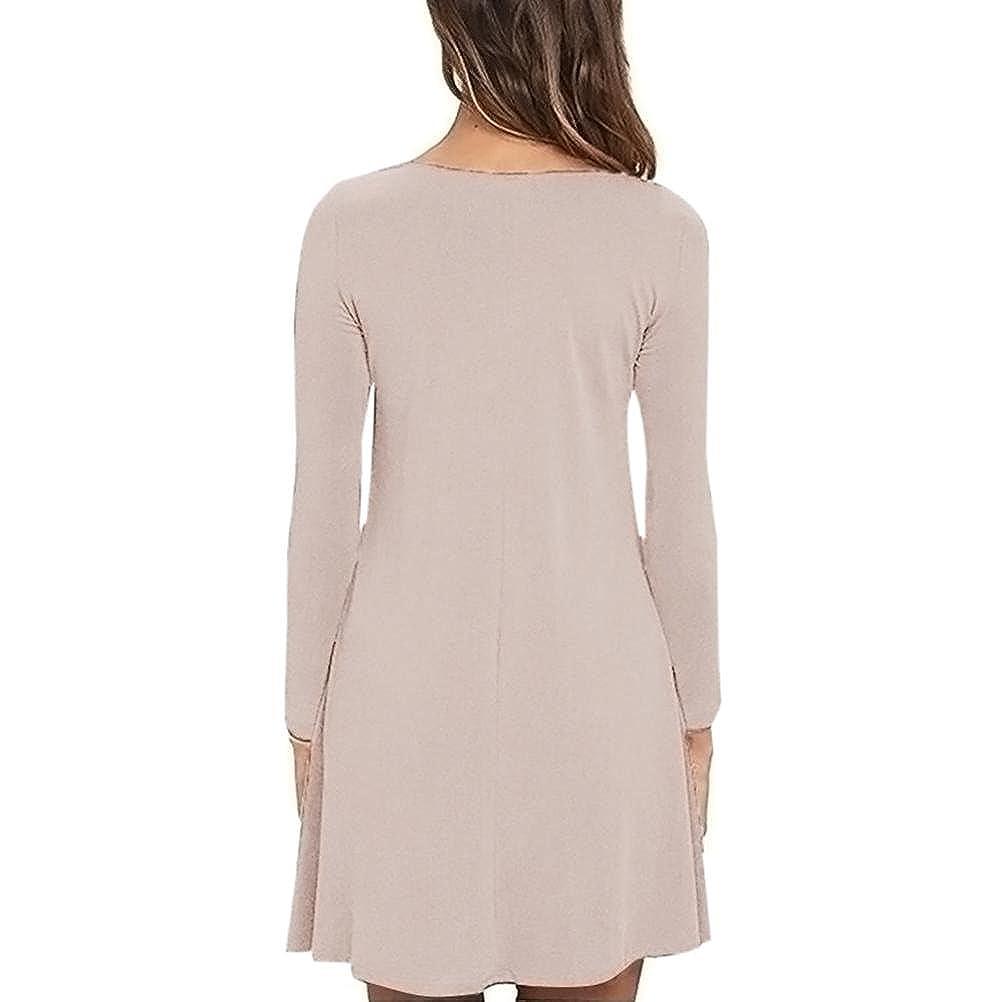 Vestidos tallas grandes, Morwind vestido de playa de mujer vestido casuales mini vestido vestido swing cuello redondo vestido de manga larga, ...