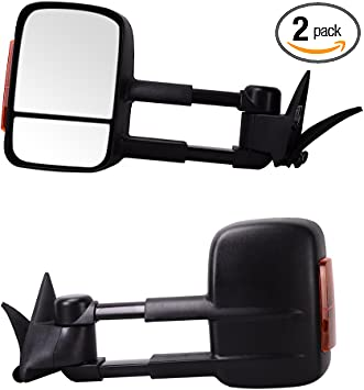 88-98 Chevy GMC C//K 1500 Tahoe LED Signal MANUAL Extend Towing Side Mirrors PAIR