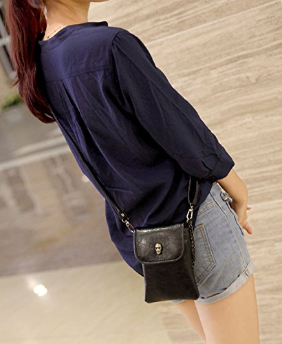 Black PU Leather Shoulder Bags Crossbody Bags Small Portable Cell Phone iPhone Case Holder Wallet Purse Cash Key Coin Pouches Clutch Handbag for Women Teen Girls Students