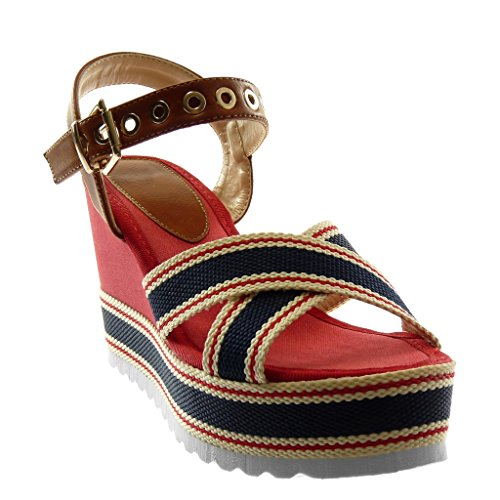 Plateforme Plateforme Mule Chaussure Cheville Rouge 10 Angkorly Mode CM Compensé Femme Boucle Tricolore Perforée Talon Lanière Sandale tOqtYdw