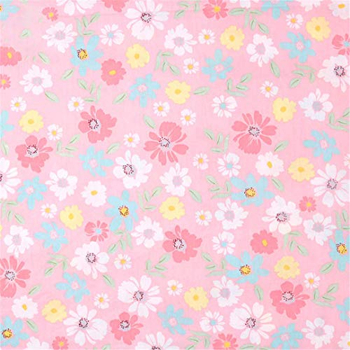 Pink Flower Plaid Printed 100% Cotton Fabric Meters For Children'S Skirt Dresses Bed Sheet Sewing Cloth Telas ()
