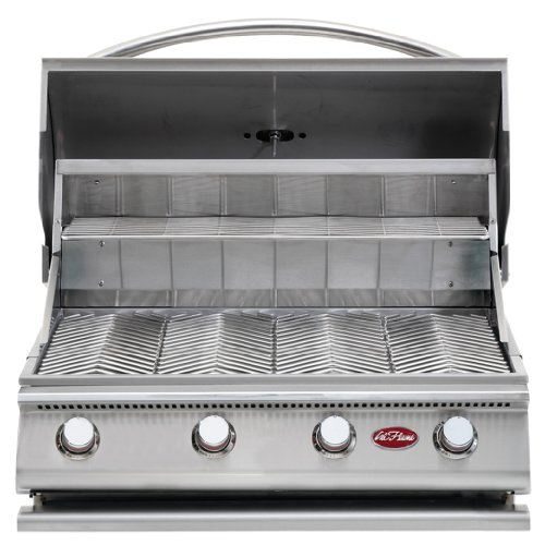 Cal Flame BBQ18G04 G4 4-Burner Grill LP 800 sq.in. 60,000 BTUs Built in Temperature Gauge, Cast Iron, Stainless Steel