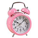 "Kaimao Vintage Silent Twin Bell Alarm Clock 3"", No Tick Cute Luminous Table Clock - Color Random Yellow Red Blue Green Pink"