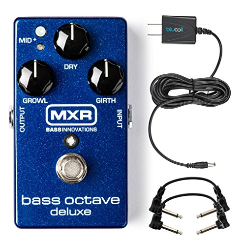 MXR M288 Bass Octave Deluxe Pedal -INCLUDES- Two Hosa CFS-106 Guitar Patch Cables AND Blucoil Power Supply Slim AC/DC Adapter for 9 Volt DC 670mA with US Plug by blucoil