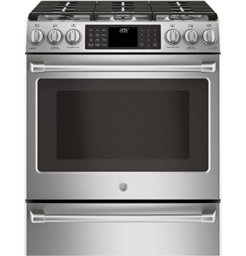 GE Cafe C2S986SELSS 30 Inch Slide-in Dual Fuel Range with Sealed Burner Cooktop, 5.6 cu. ft. Primary Oven Capacity in Stainless Steel