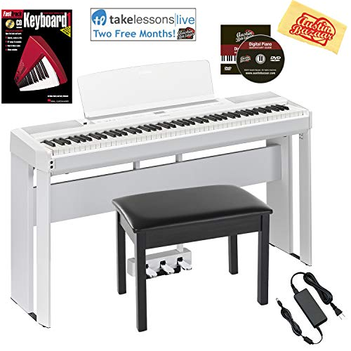 Yamaha P-515 88-Key Digital Piano - White Bundle with Yamaha L-515 Stand, LP-1 Pedal, Furniture Bench, Dust Cover, Instructional Book, Online Lessons, Austin Bazaar Instructional DVD, and Polish Cloth