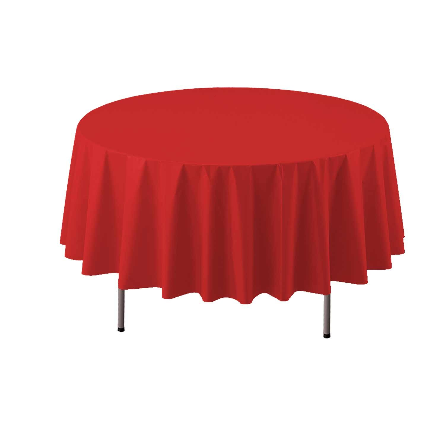 Party Essentials Heavy Duty 84 Round Plastic Table Cover Available in 22 Colors Red