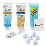 3-Pack LEAK-PROOF 9.7oz Secret Alcohol Flask - Hidden Liquor Sunscreen Bottles - 30 Leak-Proof Seals - Easy-Pour Funnel - 6 FREE Resealable Water Bottle Caps