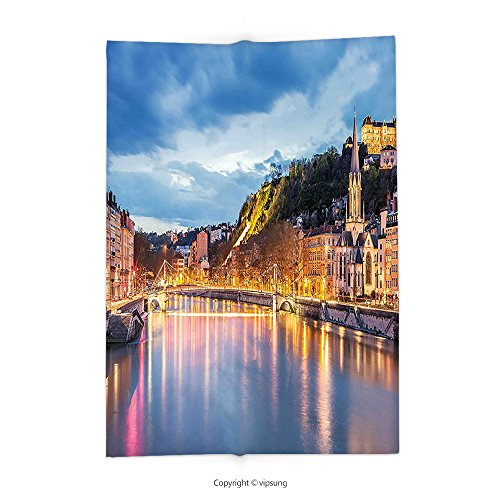 Custom printed Throw Blanket with European View of Saone River in Lyon City at Evening France Blue Hour Historic Buildings Multicolor Super soft and Cozy Fleece Blanket