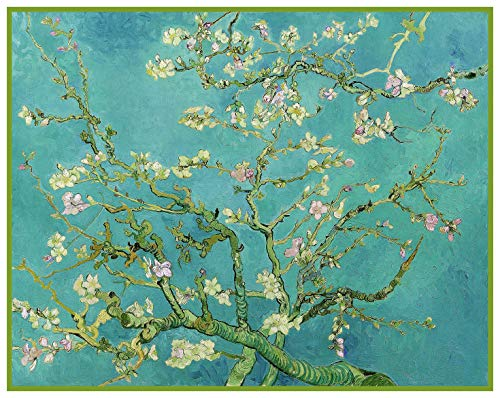 (Orenco Originals Almond Branches on Teal Blue Background Vincent Van Gogh Counted Cross Stitch Pattern)