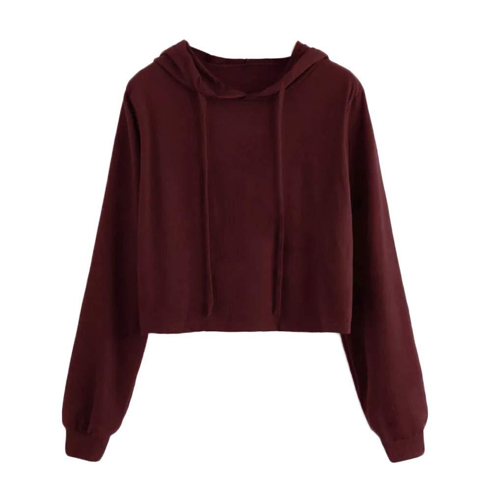Women Blouse, Farjing Long Sleeve Hoodie Sweatshirt Hooded Pullover Tops Blouse(XL,Wine)