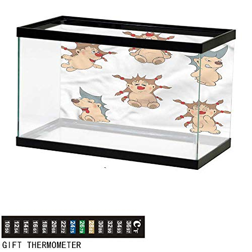 bybyhome Fish Tank Backdrop Funny,Hedgehogs with Cool Hairstyle,Aquarium Background,48