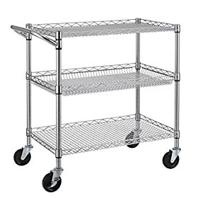 Finnhomy Steel Service Cart with Wheels 2 Tier Uti...