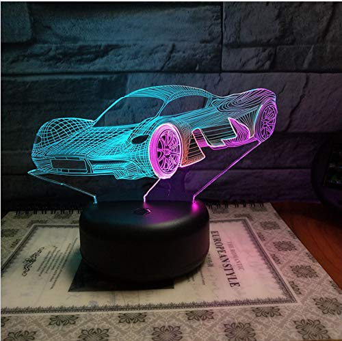 kkkmb Fashion Coupe 3D Vision Night Lamp Creative Colorful Touch Charging Led Stereo Lamp Gift Lamp
