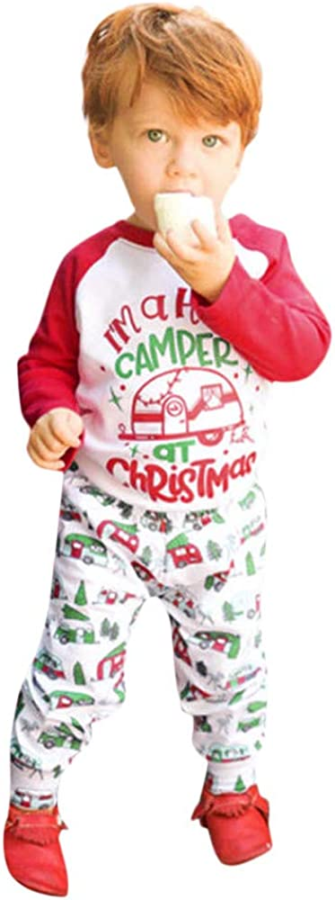 Pants Two Piece Set kaiCran Toddler Baby Boy Christmas Outfits Long Sleeve Cartoon Letter Print Top