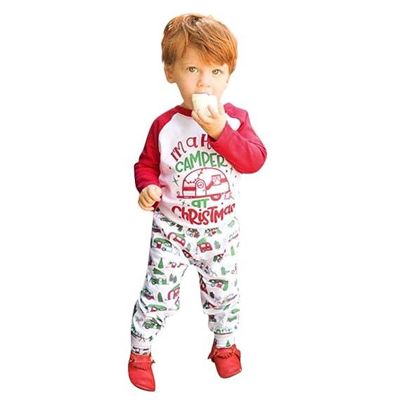 Amlaiworld Ropa de Navidad bebé niños, Bebé Infantil niños niñas Navidad Letra Manga Larga Dibujos Animados Tops Camisas + Pantalones Conjuntos de Ropa: ...