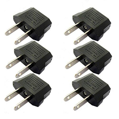 ANRANK E-U4113619AK European to USA American Outlet Plug Adapter (Black, (American Plug Adapter)