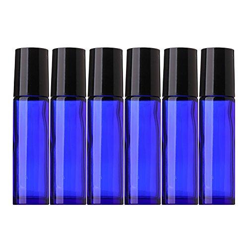 Aguder 10 ml Roll on Bottles with Stainless Steel Roller Balls, 6 Pack, Cobalt Blue
