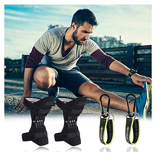 (Joint Support Knee Pads 1 Pair + Hanging Sling Straps 1Pair, Knee Patella Strap, Power Lift Spring Force, Tendon Brace Band Pad for Arthritis Tendonitis Gym Fitness (Black))