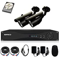 SANSCO Security Camera System with 4-Channel 1080N DVR, 2 Bullet Cameras (Both HD 720p 1MP), and 1TB Internal Hard Drive Disk - All-in-One Home Surveillance Camera Kit