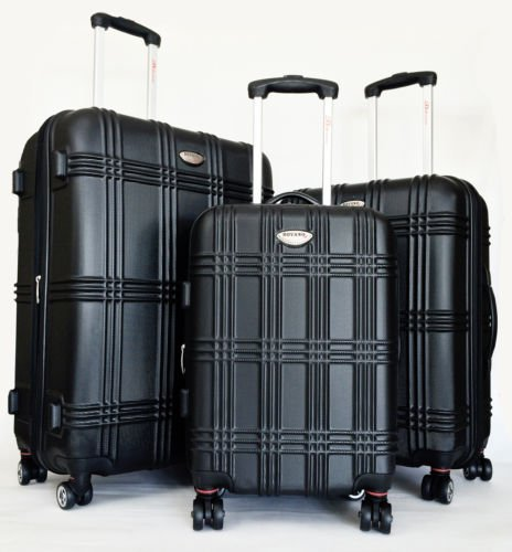Collection 4 Piece Luggage Set (3pc Luggage Set Hardside Rolling 4wheel Spinner Upright Carryon Travel ABS Black)
