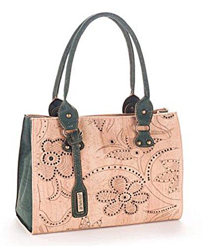 Artelusa Cork Top Handle Handbag Bicolor Natural/Green Floral Pattern Eco-Friendly Handmade in Portugal