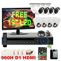 GW Security Inc 8CHV7 8 Channel H.264 DVR with 8 x 1/3 HDIS CCD Security Camera 650TV Line 3.6mm Lens Surveillance System, Free LED Monitor