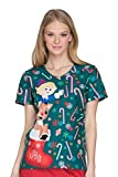 Tooniforms Women's V-Neck Top, Rudolph Candyland, M