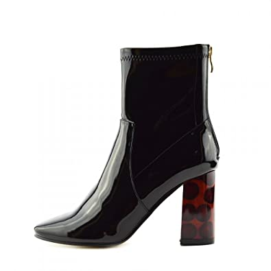 Womens Ankle Boots Sexy High-heel Block-heel Ankle-high Black Patent Boots