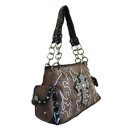 Concealed Embroidered Handbag Kahki Shoulder Multi Cross in Rhinestone Carry Purse Colors A5qcg