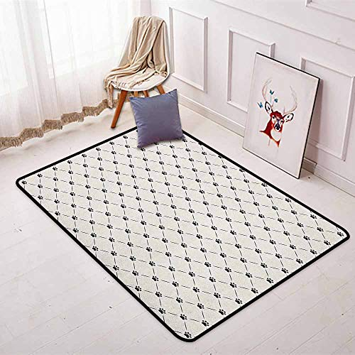 (Cat Non-Slip Absorbent Carpet Classical Checkered Pattern with Cat Kitty Dog Paws Footprints Geometrical Cute Design Better underfoot Protection W47.2 x L63 Inch Cream Black)